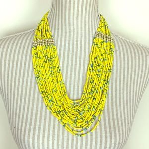 Jewelry - Yellow Beaded Cascading Statement Necklace